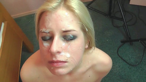 Sister's Beautiful Face Covered with Sticky Cum