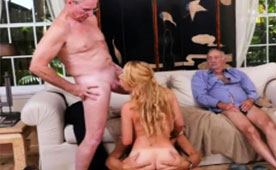 Blonde Teen Uses the Easiest Way to Earn Cash - Group Sex with Grandpas